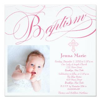 Elegant Baptism Baby Girl Photo Invitation