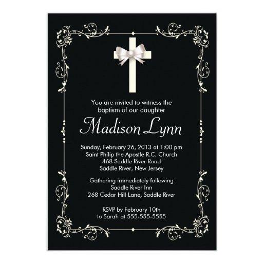 Elegant Baptism | Christening Elegant Cross Personalized Invite
