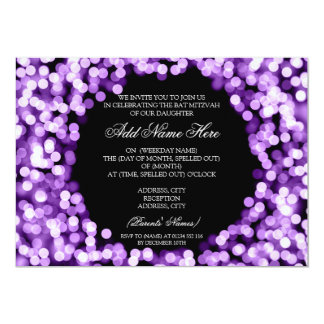 Elegant Bat Mitzvah Purple Sparkly Lights Card