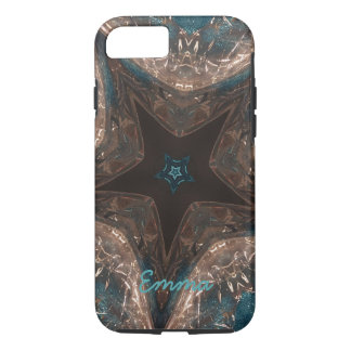 Elegant Batik Look Kaleidoscope Star Turquoise iPhone 7 Case