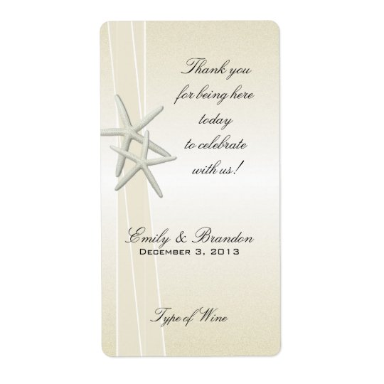 Elegant Bayside Starfish Custom Wedding Wine Label