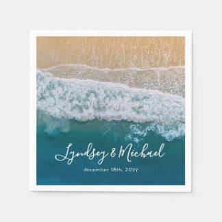 Elegant Beach Blue Ocean Wedding Disposable Napkins