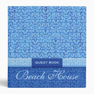 Elegant Beach House Guest Book Blue Damask Vinyl Binder
