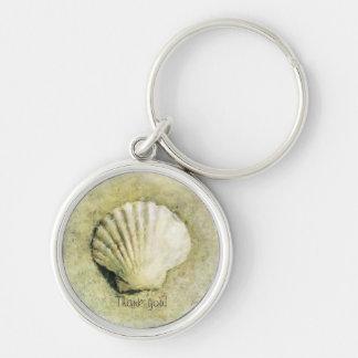 Elegant Beach Seashell Silver-Colored Round Keychain