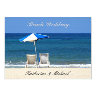 "Elegant Beach Wedding Chairs 5"" X 7"" Invitation Card"