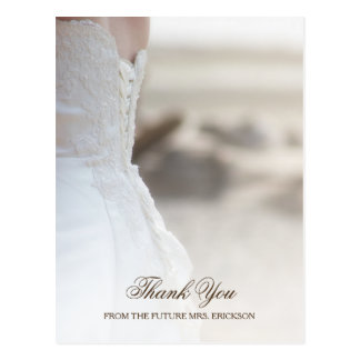 Elegant Beach Wedding Gown Bridal Shower Thank You Postcard
