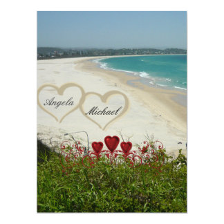 Elegant Beach Wedding Invitation Red Hearts