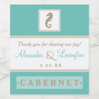 Elegant Beach Wedding With Seahorse Choose Colors Wine Label