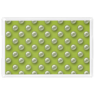 Elegant Beautiful Green Pearls Acrylic Tray