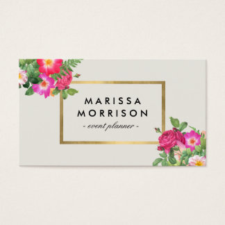 Elegant Beauty Florals Vintage White and Faux Gold Business Card