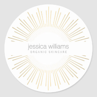 Elegant Beauty Gold Sunburst Classic Round Sticker