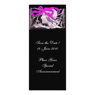 """ELEGANT BEAUTY / LADY WITH PINK BOW AND FLOWERS 4"""" X 9.25"""" INVITATION CARD"""