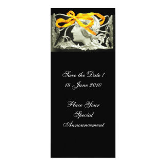 "ELEGANT BEAUTY / LADY WITH YELLOW  BOW AND FLOWERS 4"" X 9.25"" INVITATION CARD"