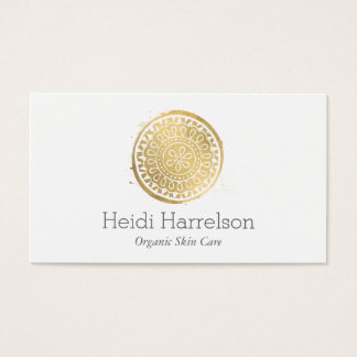 Elegant Beauty Mandala Logo Faux Gold Business Card