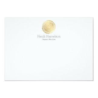 Elegant Beauty Mandala Logo Faux Gold Flat Note Card