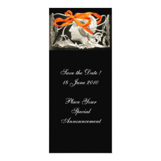 """ELEGANT BEAUTY / WOMAN WITH RED BOW AND FLOWERS 4"""" X 9.25"""" INVITATION CARD"""