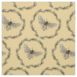 Elegant Bee Print Cotton Fabric