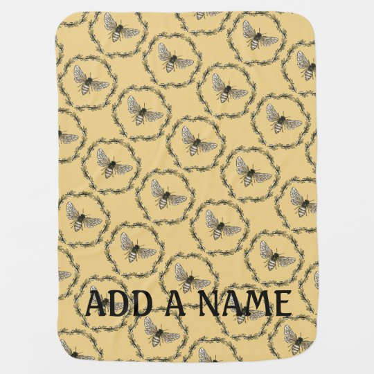 Elegant Bee Print Customizable Baby Blanket