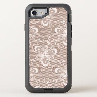 Elegant Beige Floral Lace Pattern OtterBox Defender iPhone 7 Case
