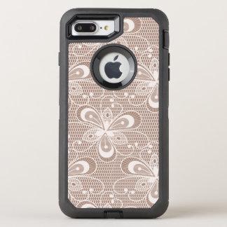 Elegant Beige Floral Lace Pattern OtterBox Defender iPhone 7 Plus Case