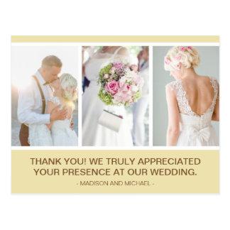 Elegant Beige Wedding Photo Collage Thank You Postcard