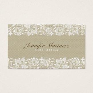 Elegant Beige & White Vintage Floral Lace Business Card
