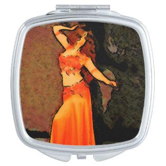 Elegant bellydancer compact mirror
