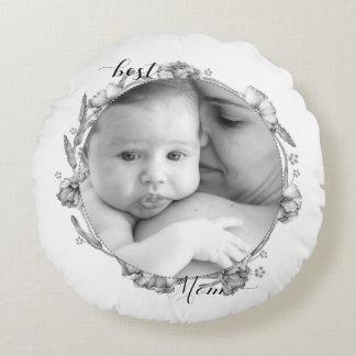 "Elegant ""Best Mom"" photo template pillow"