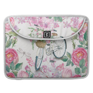Elegant Bicycle and Flowers Sleeves For MacBook Pro