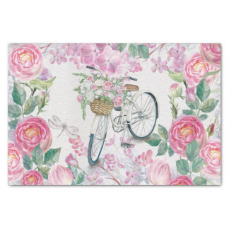 Elegant Bicycle and Flowers Tissue Paper