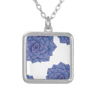 Elegant Big Purple Echeveria Design Silver Plated Necklace