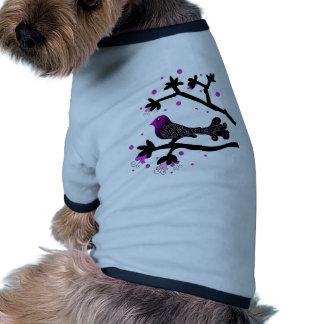Elegant Bird on Branch Silhouette Doggie Tee