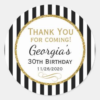 Elegant Birthday Black Gold Thank You Favor Tags Round Sticker