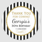 Elegant Birthday Black Gold Thank You Favour Tags