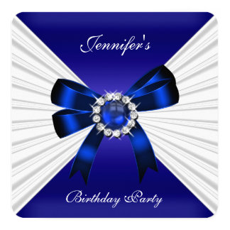 Elegant Birthday Invite Royal Blue Jewel White 2