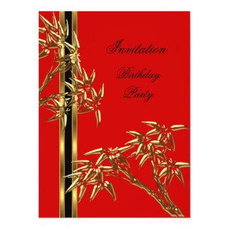 "Elegant Birthday Party Asian Bamboo 5.5"" X 7.5"" Invitation Card"