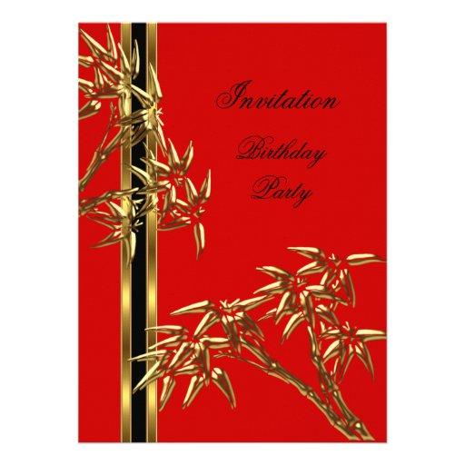 Elegant Birthday Party Asian Bamboo Personalized Invitations