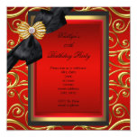 Elegant Birthday Party Black Damask Red Gold Personalized Announcement