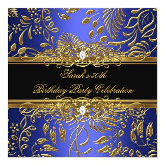 "Elegant Birthday Party Blue Black Gold Damask 5.25"" Square Invitation Card"