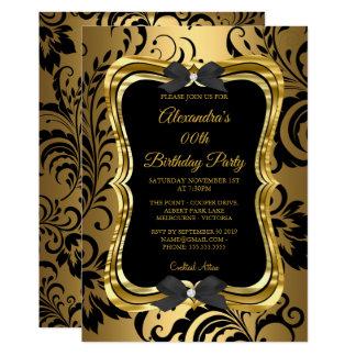 Elegant Birthday Party Gold Golden Black Floral Card