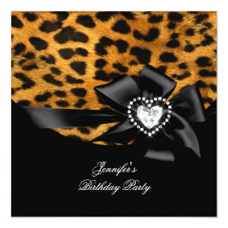 "Elegant Birthday Party Leopard Black Diamond 5.25"" Square Invitation Card"