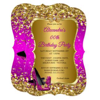 Elegant Birthday Party Pink Magenta Gold High Heel Card