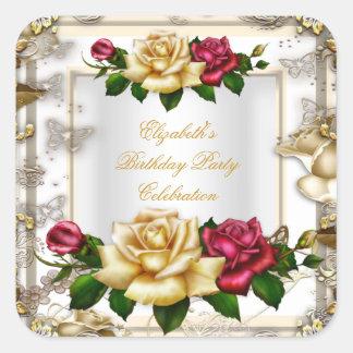 Elegant Birthday Party Roses White Gold Red Cream Square Sticker