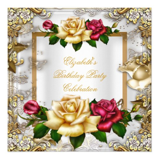 Elegant Birthday Party Roses White Gold Red Pink Announcement
