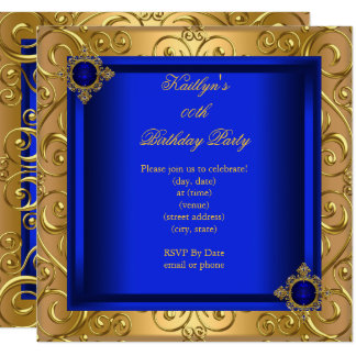 Elegant Birthday Party Royal Blue Damask Gold Card