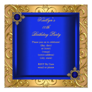 Elegant Birthday Party Royal Blue Damask Gold Card