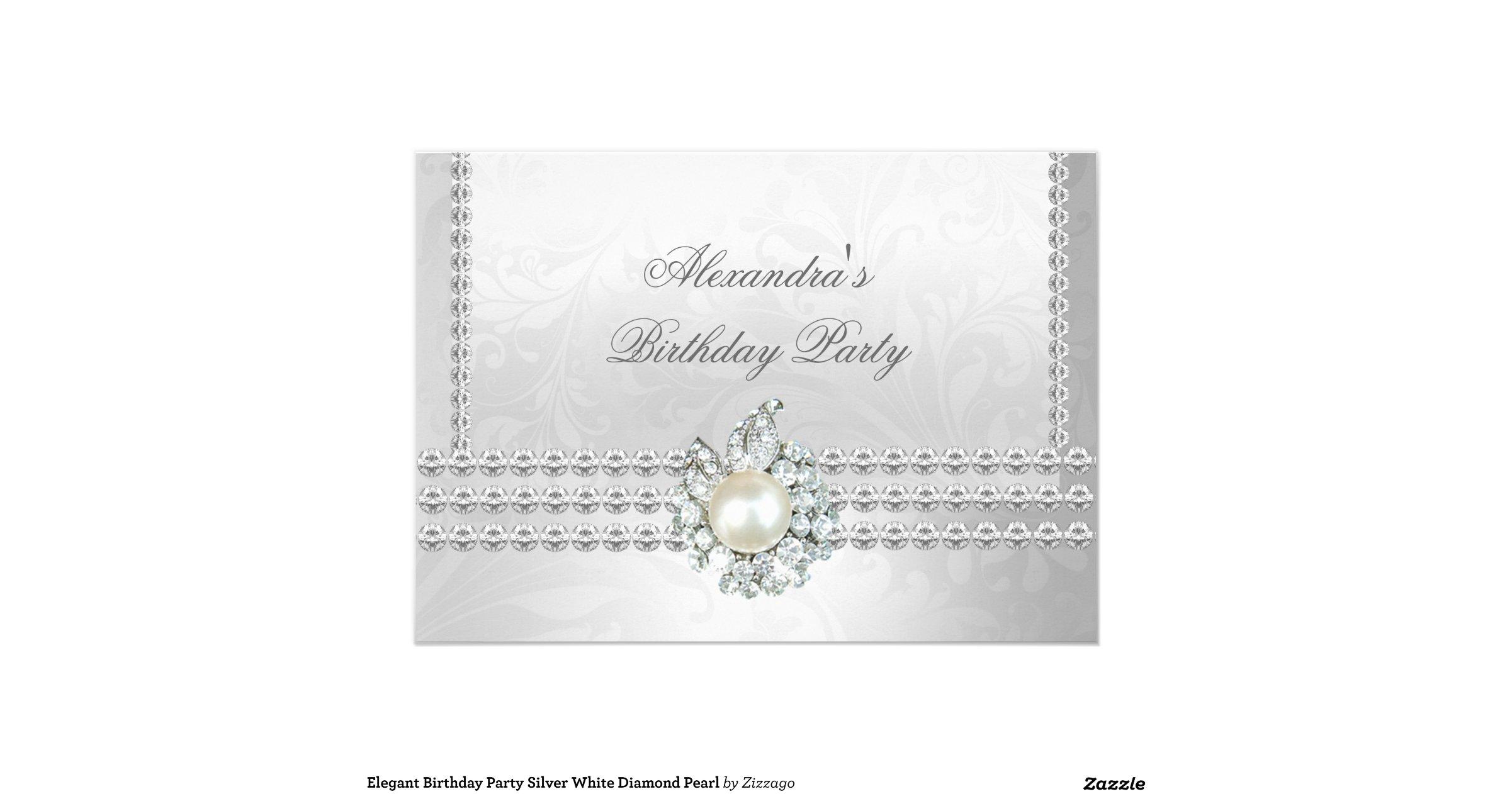 Snap Silver White Diamonds Pearl Elegant Birthday Party Card Zazzle ...