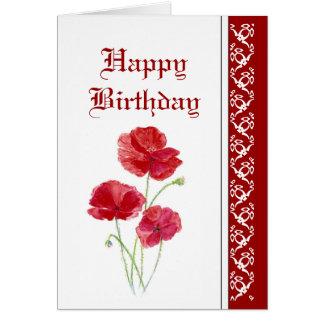 Elegant  Birthday, Red Poppies, Garden Flowers Card