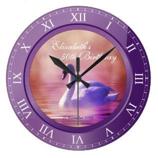 Elegant Birthday White Swan Purple Amethyst Photo Large Clock