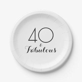 Elegant Black 40 and Fabulous Party Plates